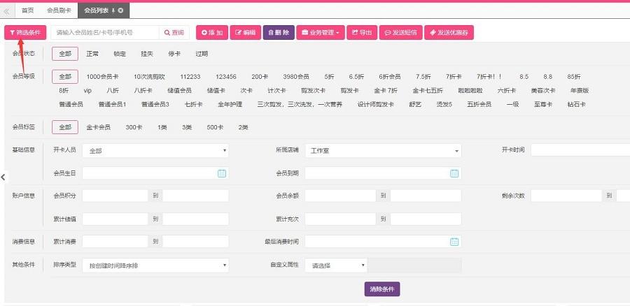 汽车美容店管理软件会员列表功能与说明